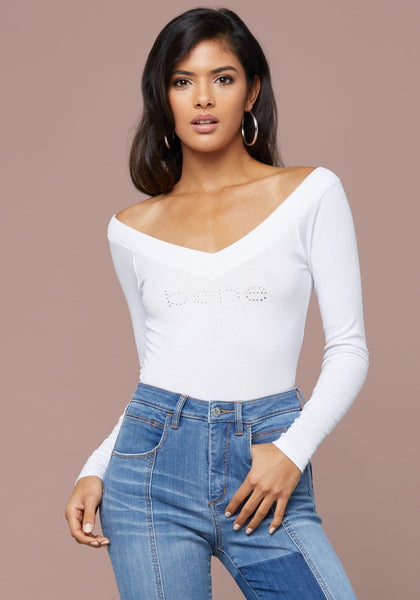 LOGO LONG SLEEVE V-NECK TEE Basic Tees - bebe Arabia