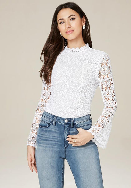 b5dfa0057909da ... LACE BELL SLEEVE TOP - bebe Arabia ...
