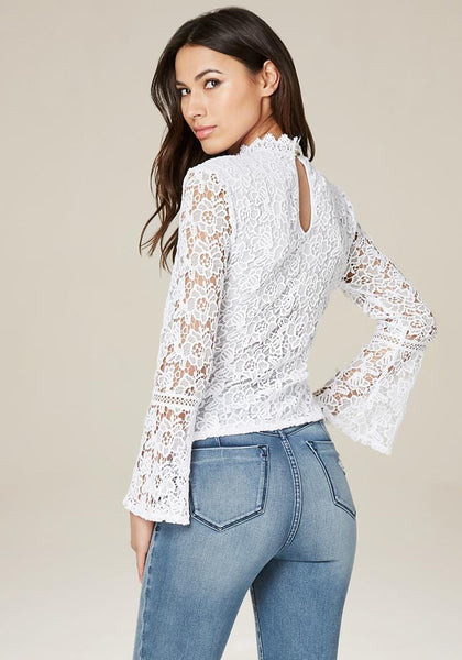9e6592b2887eea LACE BELL SLEEVE TOP - bebe Arabia ...