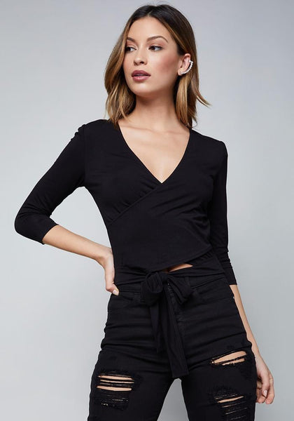 LOGO WRAP TOP Fashion Tees - bebe Arabia