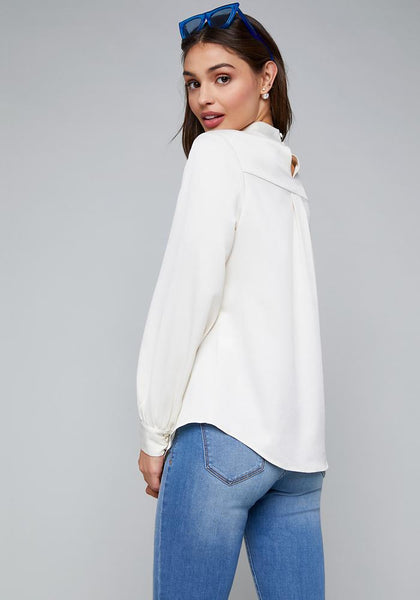 HAMMERED SATIN TOP LONG SLEEVE WOV TOP - bebe Arabia