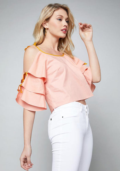 bebe top - ALYSSA POPLIN TIE SHORT SLEEVE WOV TOP - bebe Arabia