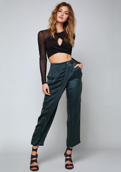 AMY CUPRO WRAP PANTS Pants - bebe Arabia