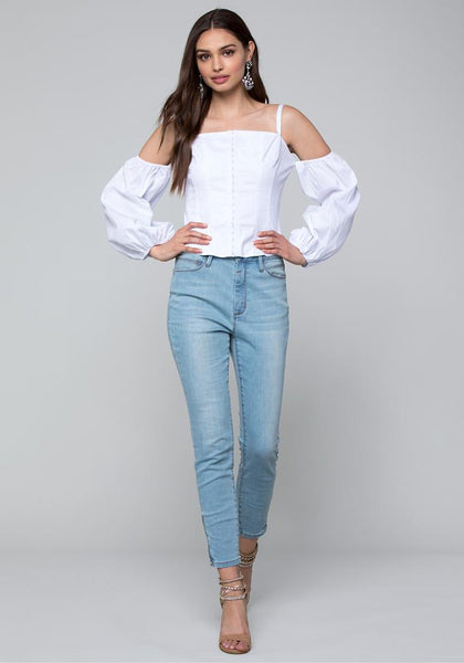 HOOK & EYE BLOUSON TOP Long Sleeve Wov Top - bebe Arabia