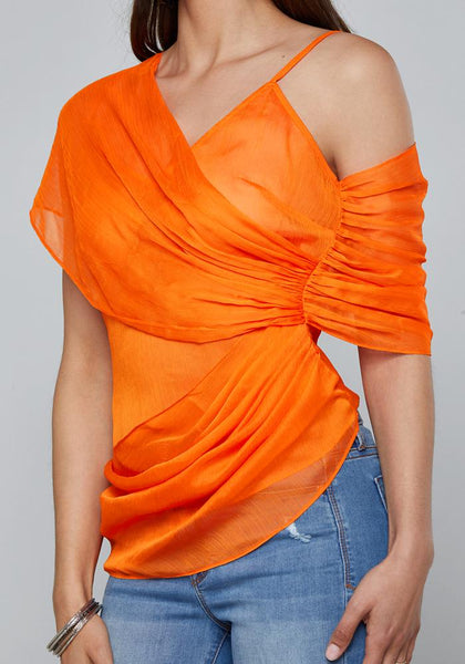 DRAPED ASYMMETRIC TOP Bare Wov Top - bebe Arabia