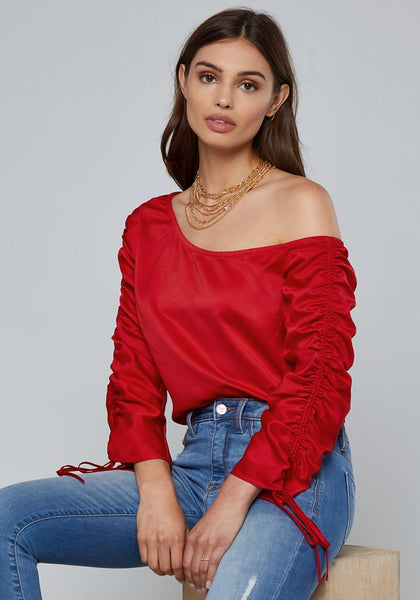 DRAWSTRING SLEEVE TOP Long Sleeve Wov Top - bebe Arabia