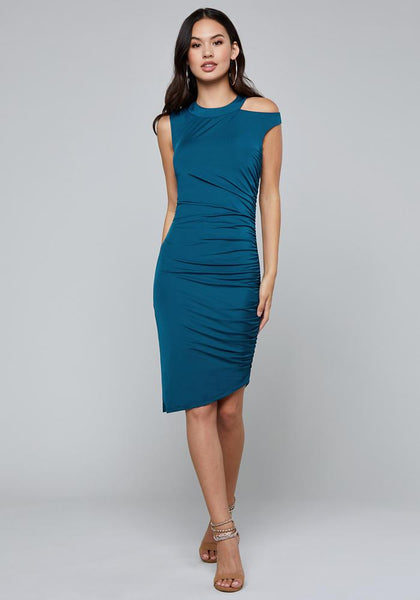 SHIRRED CUTOUT DRESS Special Occasion Dresses - bebe Arabia