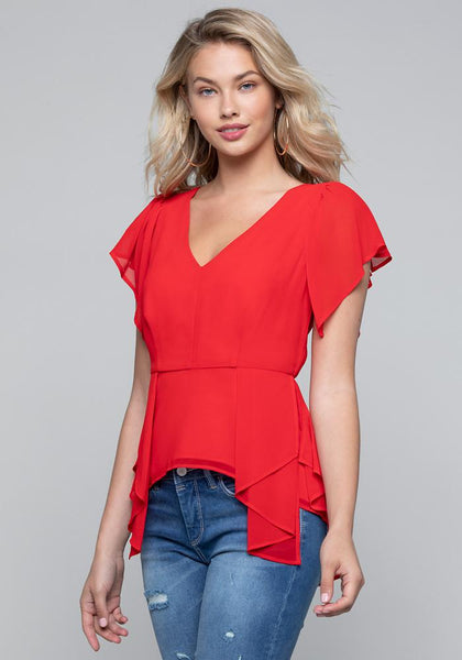 FLUTTER SLEEVE V-NECK TOP - bebe Arabia