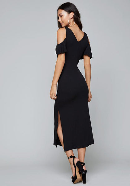 LOGO RUFFLE MAXI DRESS - bebe Arabia