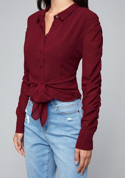 SHIRRED SLEEVE BLOUSE