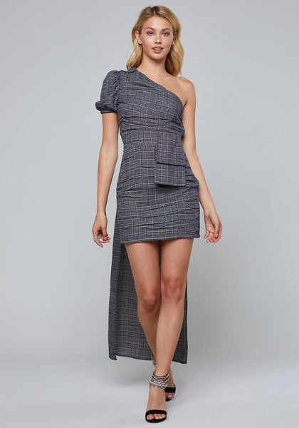 PLAID ONE SHOULDER DRESS Day Occasion - bebe Arabia