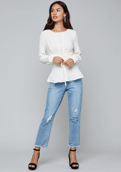 LACE UP WAIST TOP LONG SLEEVE WOV TOP - bebe Arabia