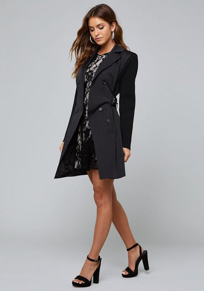 KNIT SLEEVE TRENCH COAT - bebe Arabia