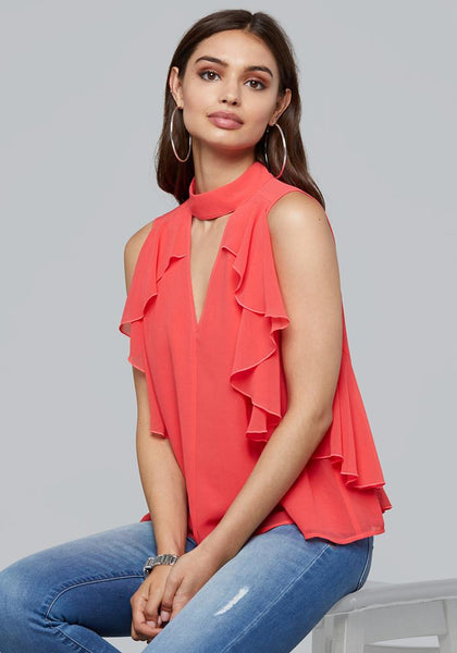 RUFFLED SLEEVELESS TOP Bare Wov Top - bebe Arabia