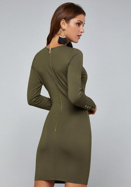PONTE LONG SLEEVE DRESS Occasion Dresses - bebe Arabia