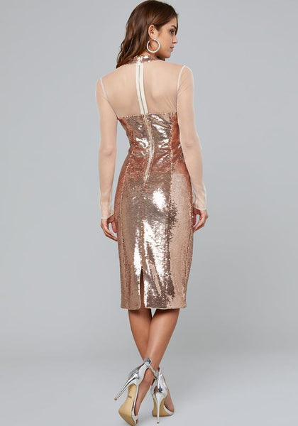 ROSE GOLD SEQUIN MIDI DRESS Day Occasion - bebe Arabia