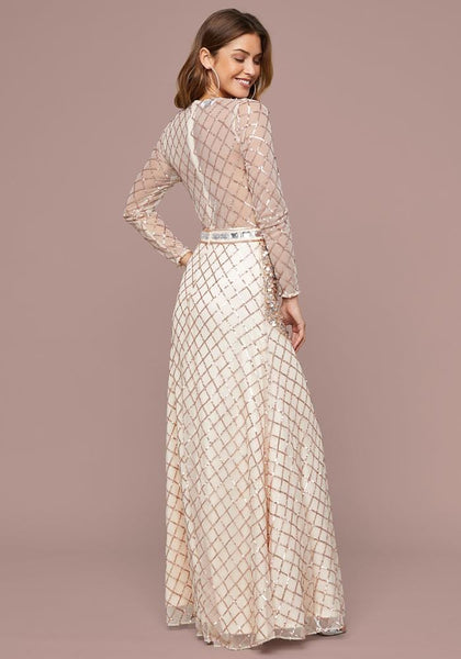 EMBELLISHED ILLUSION GOWN - bebe Arabia