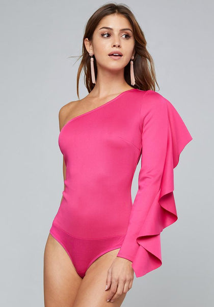 RUFFLE SLEEVE BODYSUIT Bare Wov Top - bebe Arabia
