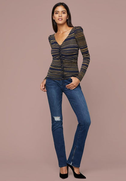 CANDICE METALLIC STRIPE TOP LONG SLEEVE KNIT TOP - bebe Arabia