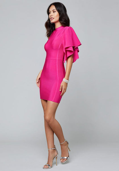 ONE SLEEVE BANDAGE DRESS - bebe Arabia