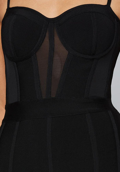 FEATHER HEM BANDAGE DRESS Occasion Dresses - bebe Arabia