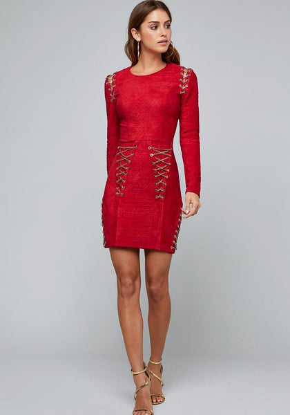 CHAIN LACE UP DRESS - bebe Arabia