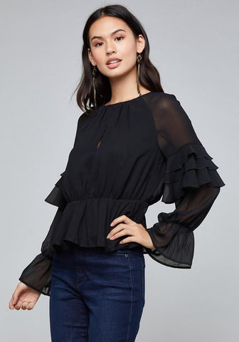 CASCADING RUFFLE SLEEVE TOP
