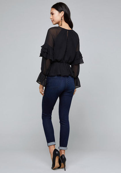 DANIELLE RUFFLE TRIM TOP LONG SLEEVE WOV TOP - bebe Arabia