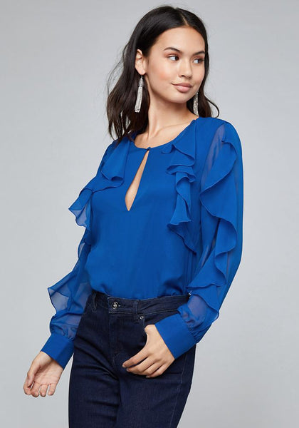 CASCADING RUFFLE SLEEVE TOP LONG SLEEVE WOV TOP - bebe Arabia