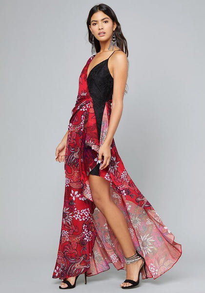 PRINT ASYMMETRIC GOWN Special Occasion Dresses - bebe Arabia