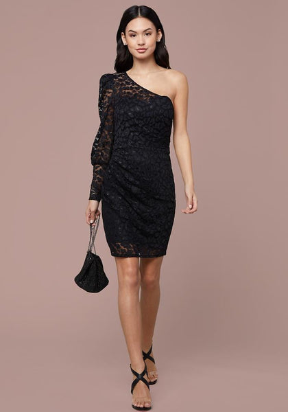 LACE ONE SLEEVE DRESS - bebe Arabia