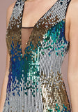 COLORFUL SEQUIN PLUNGE GOWN - bebe Arabia