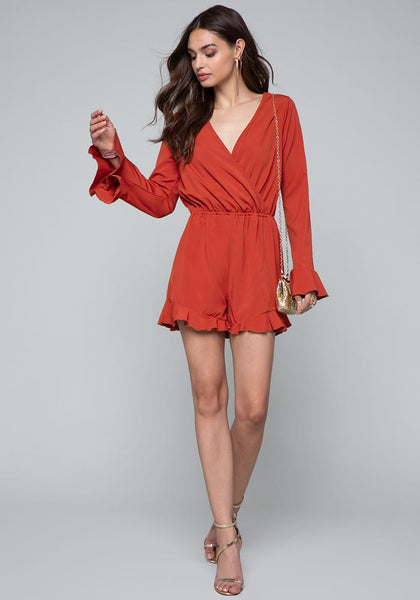 RUFFLE SLEEVE ROMPER Day Jumpsuits - bebe Arabia