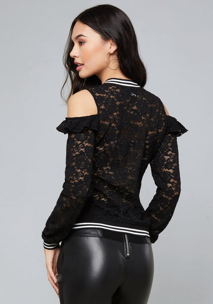 bebe top - ALANA LACE LONG SLEEVE KNIT TOP - bebe Arabia