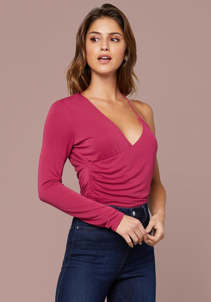 NAYA RUCHED WRAP TOP - bebe Arabia