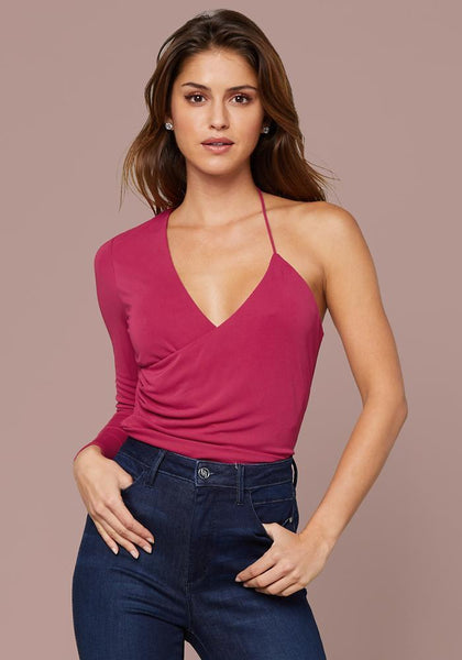 NAYA RUCHED WRAP TOP Knit Tops - bebe Arabia