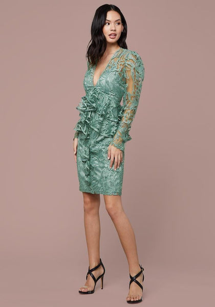 RUFFLED LACE PENCIL DRESS Occasion Dresses - bebe Arabia