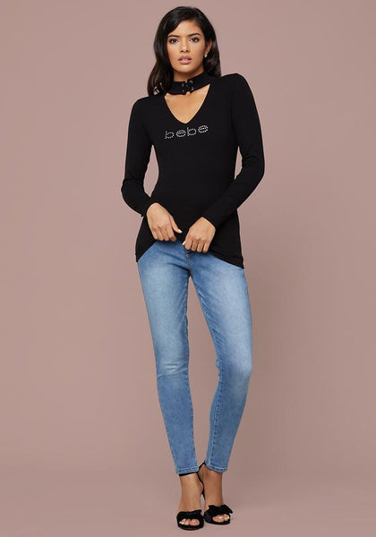 LOGO LACE UP NECK TOP - bebe Arabia