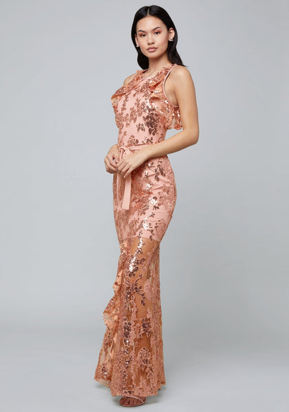 SEQUIN RUFFLED GOWN Special Occasion Dresses - bebe Arabia