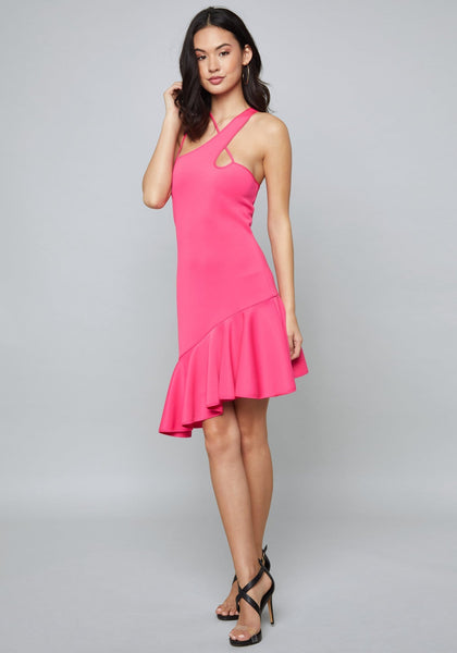 SCUBA FLOUNCE HEM DRESS