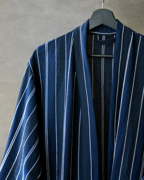 Deep Blue Striped Robe-Hand made Linen