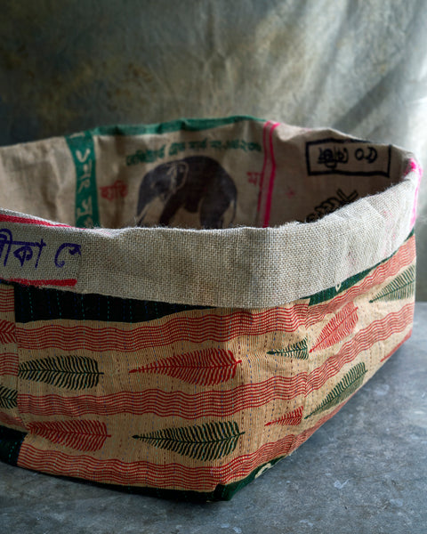 Hand made burlap/kantha baskets