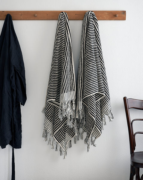 Handwoven organic thick striped Turkish towel