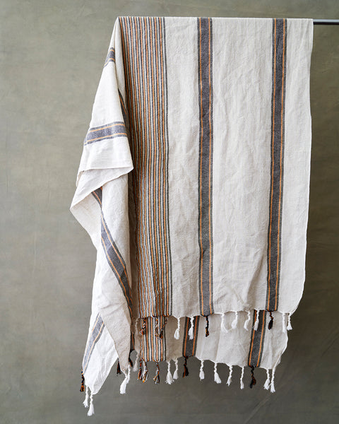 Orange/Black Striped Linen Hamam