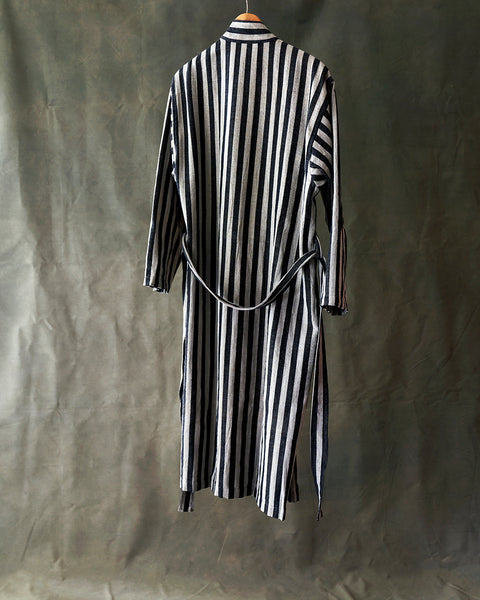 Striped peshtemal robe of linen/cotton