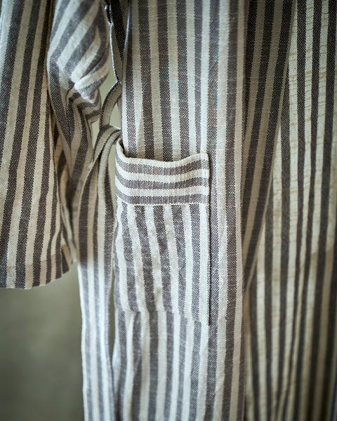 GreyWhite Striped Robe in cotton and linen