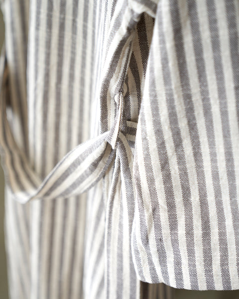 Grey/White Striped Robe in cotton/linen