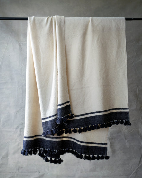 Large hand made silk wool blanket w black stripes