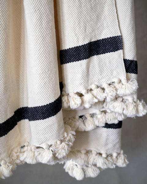 Hand made blanket in wool and silk