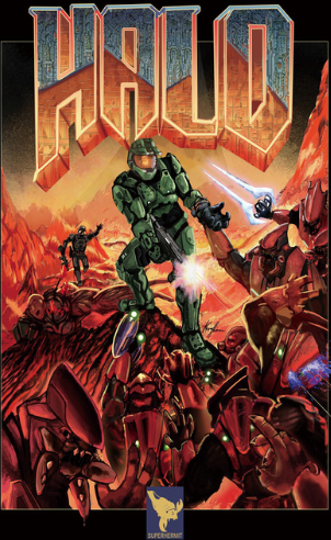 Halo Doom Crossover Poster